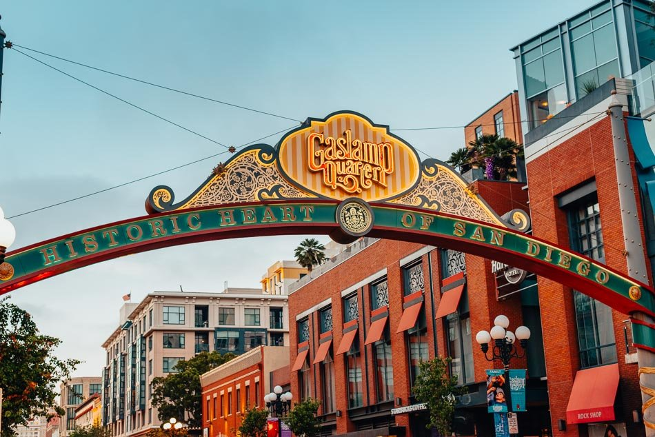 The San Diego Gaslamp Quarter Sign during the day.