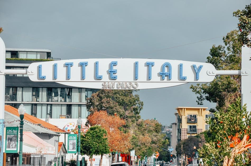 The Little Italy entrance sign in San Diego, CA.