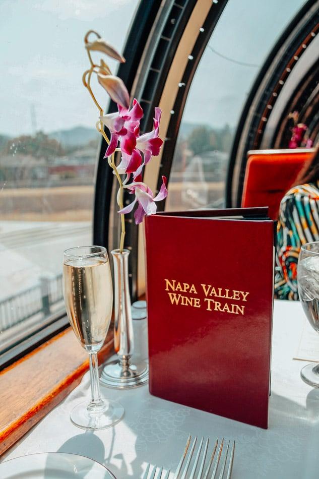 A glass of champagne on the Napa Valley Wine Train in Napa, CA.