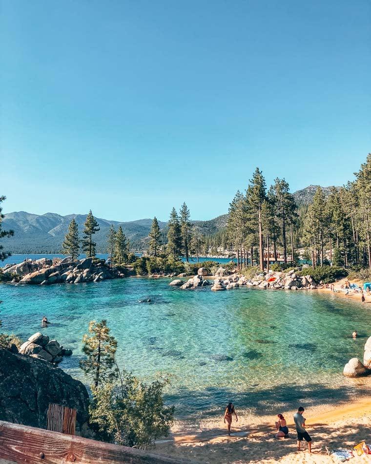 Beach Cove in Lake Tahoe, California during the summer.