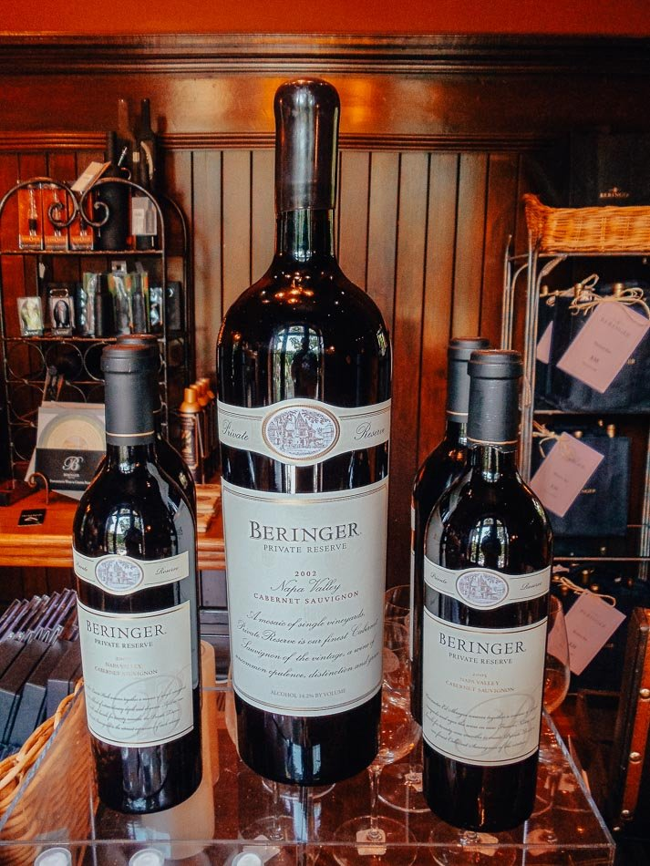 The bottles of wine in the gift shop at the Beringer Vineyards in Napa, CA.