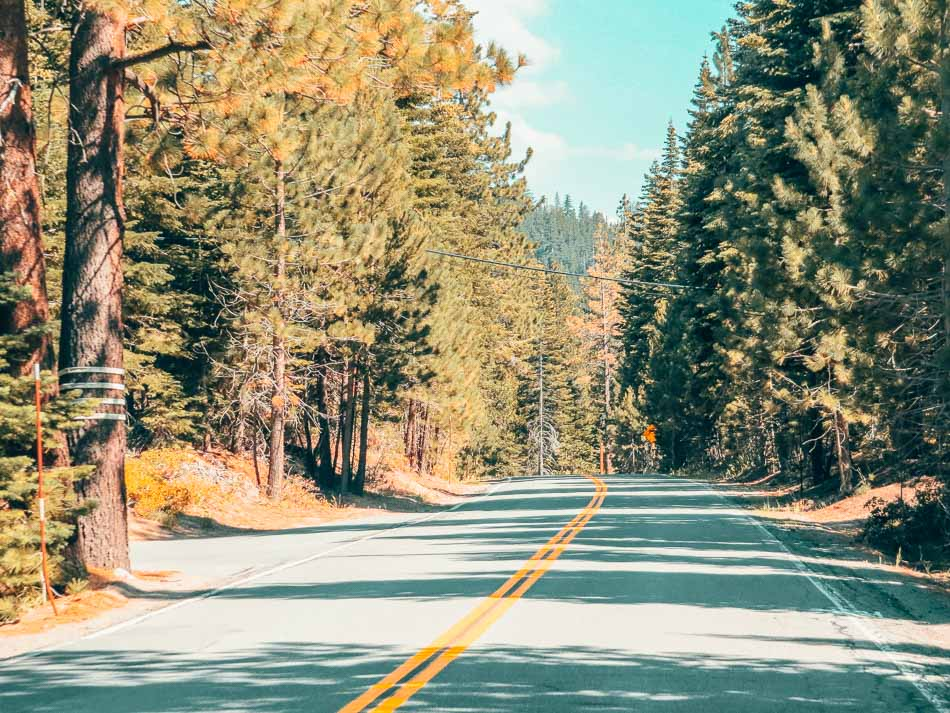 Driving in Lake Tahoe in the Summer