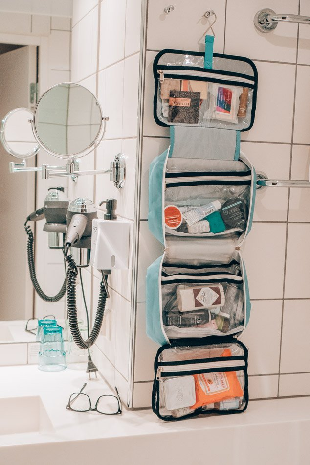 Hanging bag of toiletries