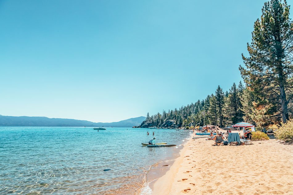 Sandy Lester Beach in DL Bliss State Park on the shores of Lake Tahoe, California