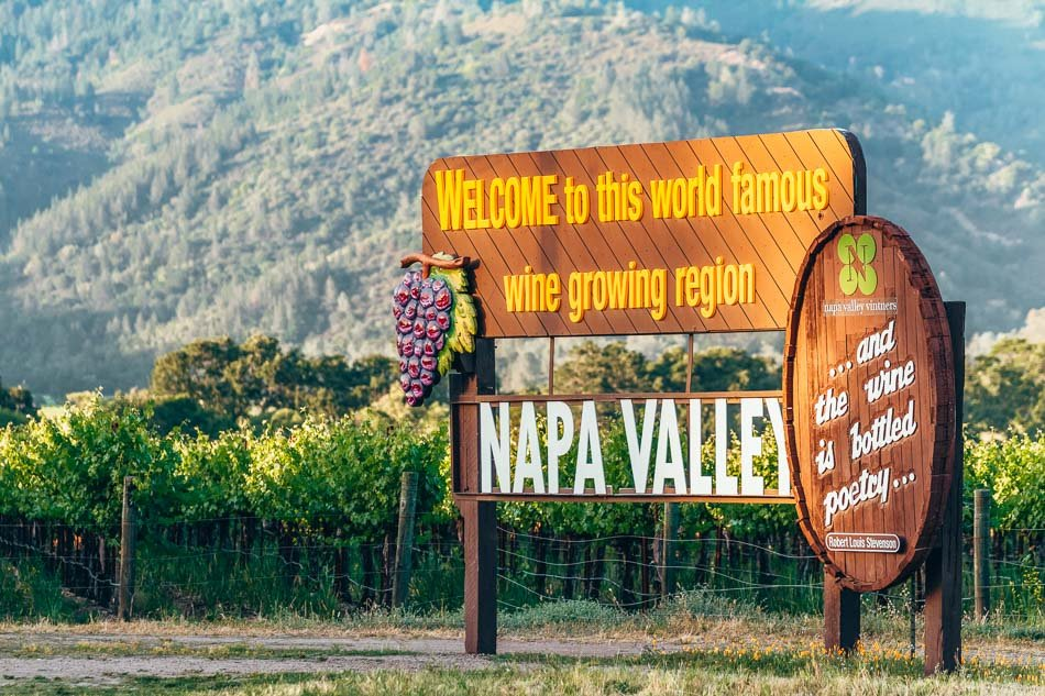 Closeup of the welcome sign in Napa Valley, California