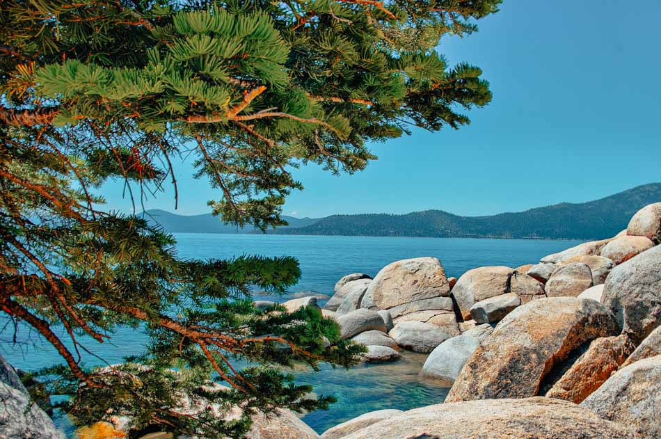 On the boulders by the lake in Northshore Lake Tahoe, CA.