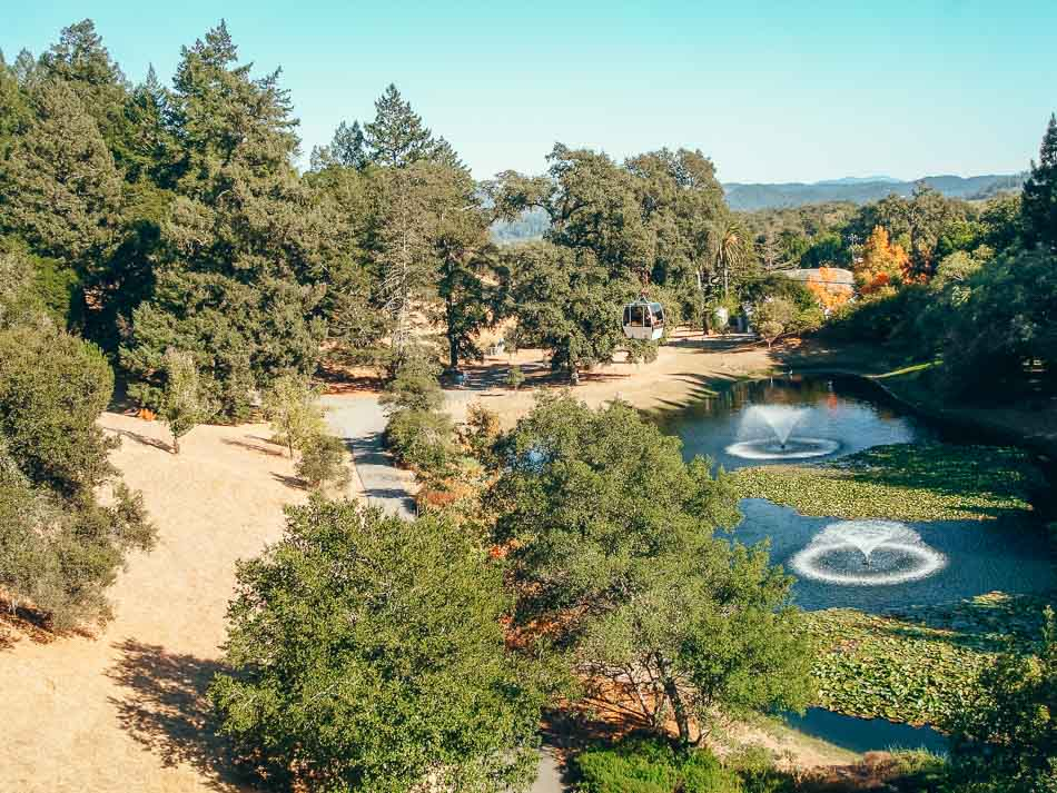 Fountains and aerial tram at Sterling Vineyards in Napa California