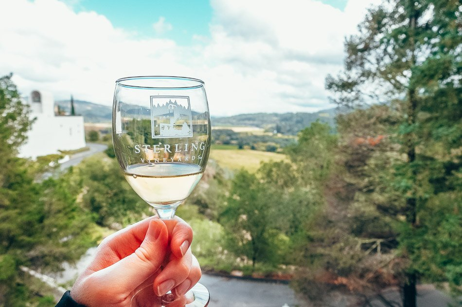 A glass of white wine at Sterling Vineyards in Napa Valley, CA.