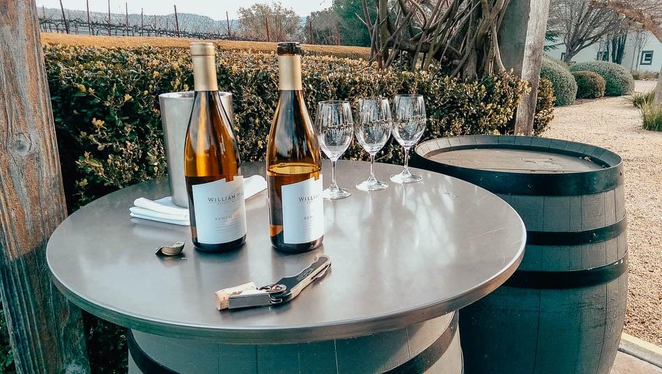 Wine tasting some William Hill Estate wine bottles in Napa, CA.