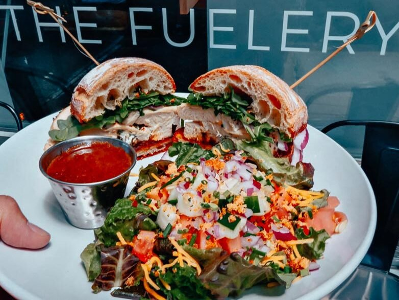 A Chicken Roulade Sandwich and salad lunch at The Fuelery