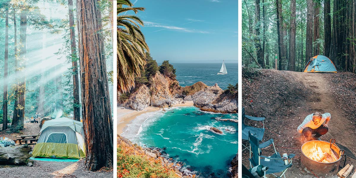 Sheer cliffs. Crashing waves. Misty redwoods. Big Sur, California is a rugged stretch of stunning coastline on Highway One between Los Angeles and San Francisco, and it's home to some of the dreamiest campsites in California! Camping in Big Sur means setting up your tent on ocean cliffs and in redwood groves, next to babbling brooks and lazy rivers, and underneath bright stars and wheeling galaxies. So pack your swimsuit (and maybe a wetsuit) for the beach and your hiking boots for the trails, and read on to find tips for the perfect Big Sur camping trip and the best Big Sur campgrounds.