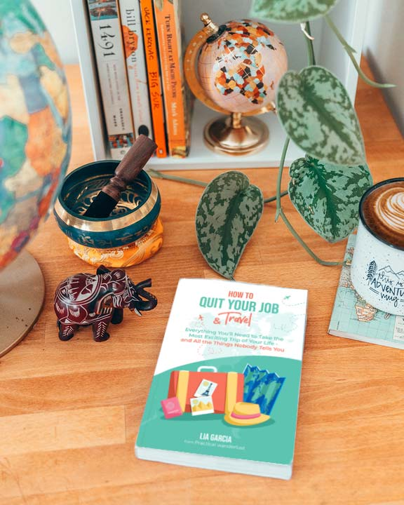 """""""How to Quit Your Job & Travel"""" book on a desk, surrounded by a globe and other travel-themed items, and a trailing plant."""
