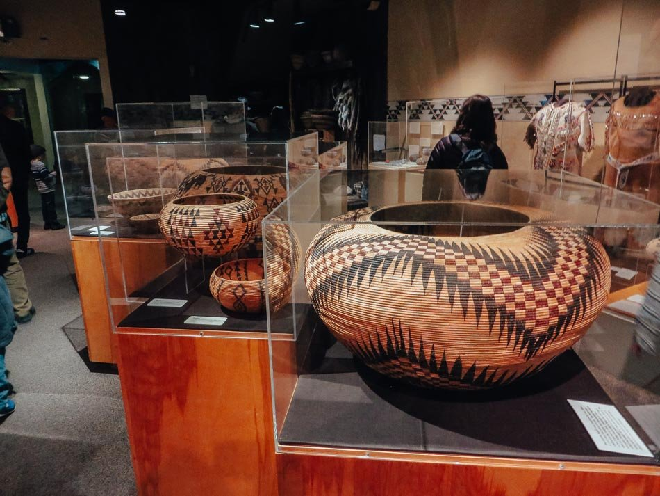 Hand woven baskets for goods made by the Native Americans at the museum in Yosemite National Park, CA