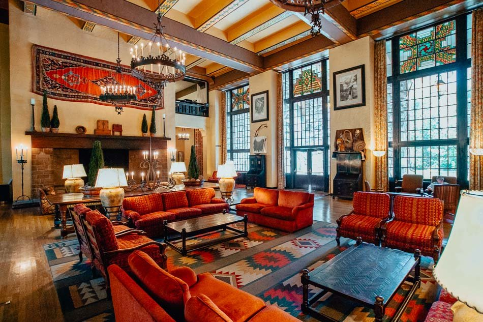 Inside of the lobby at the Ahwahnee Hotel in Yosemite National Park, CA
