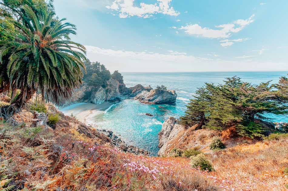The views of the ocean under blue skies at Julia Pfeiffer State Park in Big Sur.