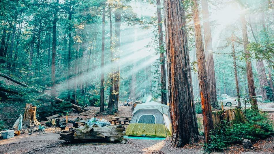 Camping set up at Ventana Campgrounds in Big Sur, CA