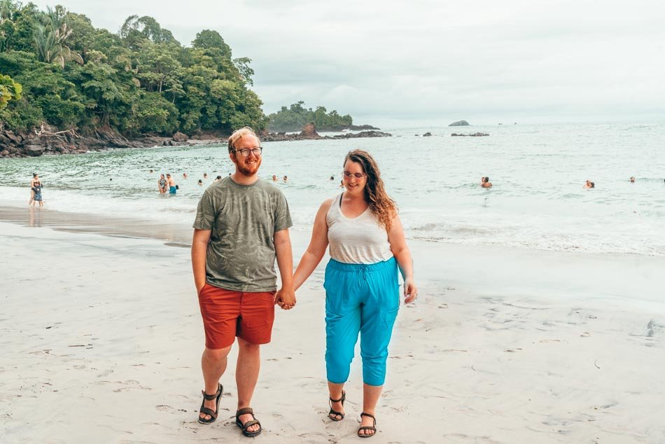 Lia and Jeremy on the beach at Manuel Antonio National Park in Quepos, Costa Rica.