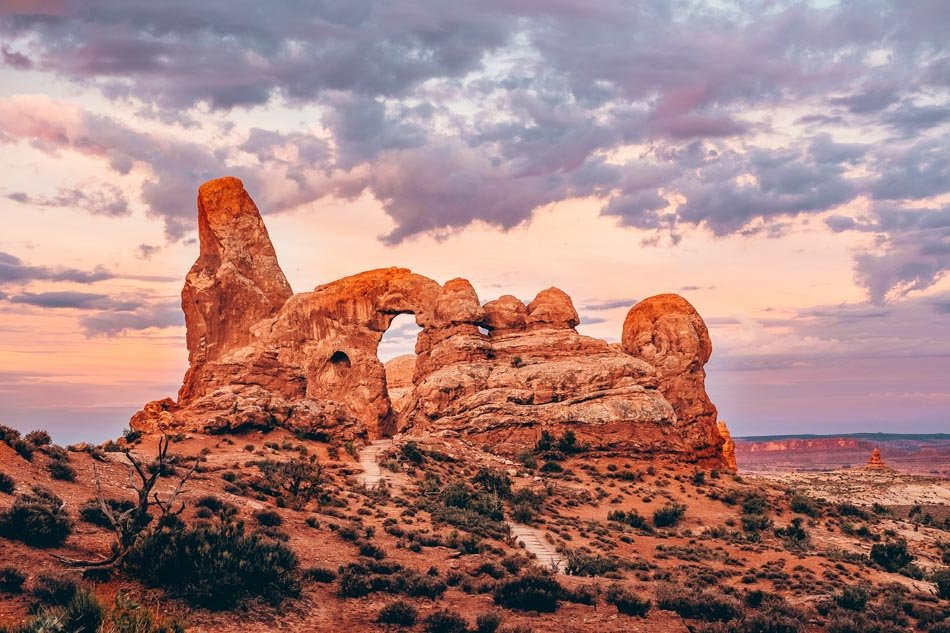 Sunrise in Arches National Park in Moab Utah