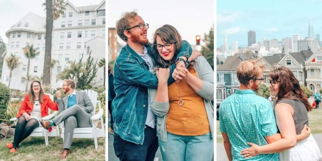 Three photos of Lia and Jeremy throughout their travels laughing and hugging
