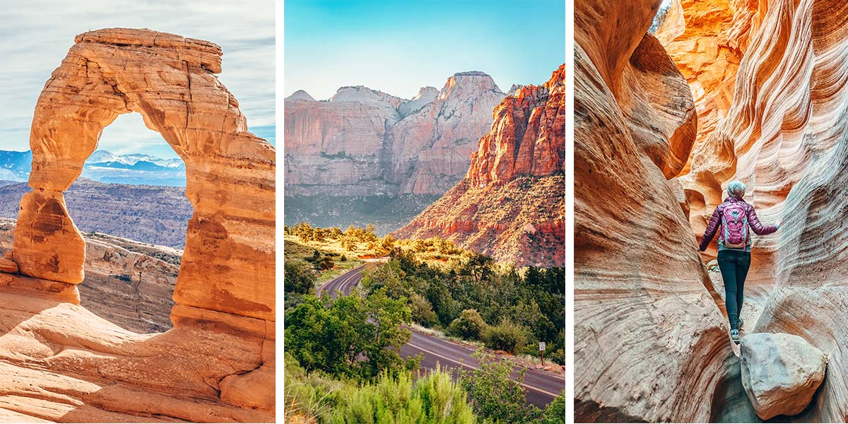 On this Utah National Parks road trip, you'll canyoneer through slot canyons, ride horses and ATVs, hike through a river canyon, watch the sunrise over a hoodoo-filled canyon, and catch a sunset through a massive stone arch. You'll visit Zion National Park, Bryce Canyon, Capitol Reef, Arches National Park, and Canyonlands National Park. And you'll discover why Utah's Mighty Five are considered some of the best National Parks in the country, all on one epic Utah road trip!