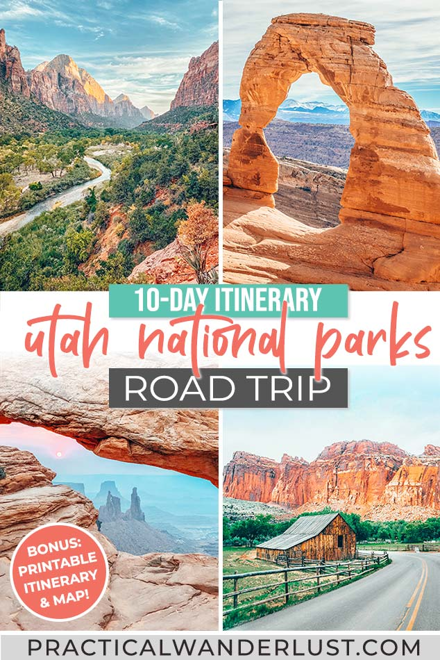 In this 10-day Utah Mighty Five road trip itinerary, you'll canyoneer through slot canyons, ride horses and ATVs, learn about ridiculous pioneer and Mormon history, hike through a river canyon, watch the sunrise over a hoodoo-filled canyon, and catch a sunset through a massive stone arch. You'll see more stars than you ever knew were possible, sleep in a Conestoga wagon, and eat Navajo Frybread. You'll visit Zion, Bryce Canyon, Capitol Reef, Arches, and Canyonlands National Parks. And you'll discover why the Mighty Five are considered some of the best National Parks in the country!