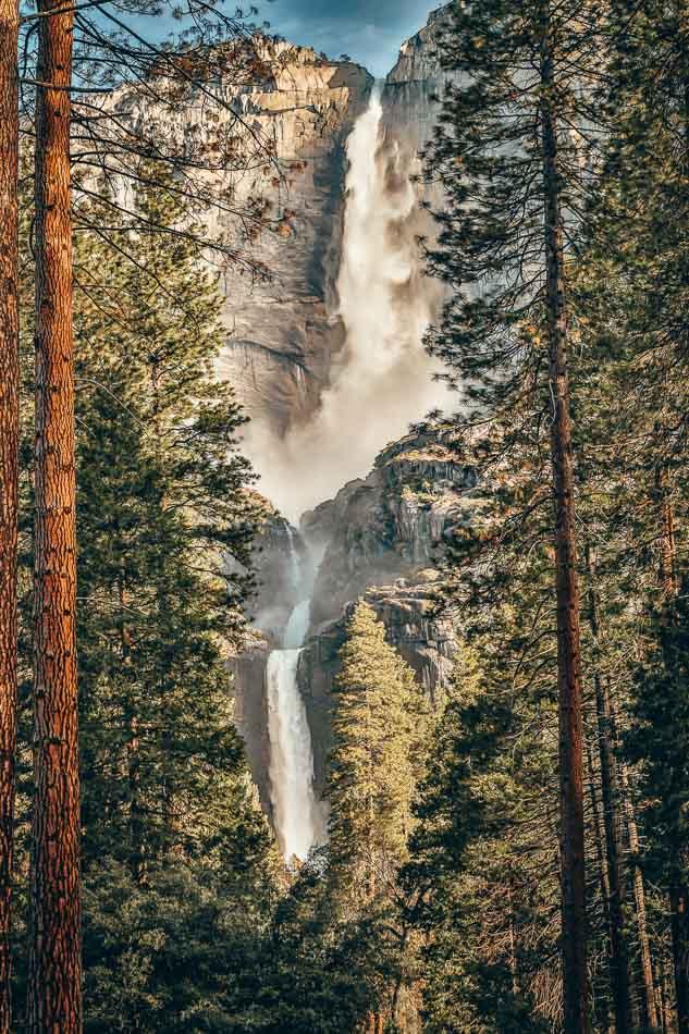 Yosemite Falls seen from Yosemite Valley in Yosemite National Park, California.