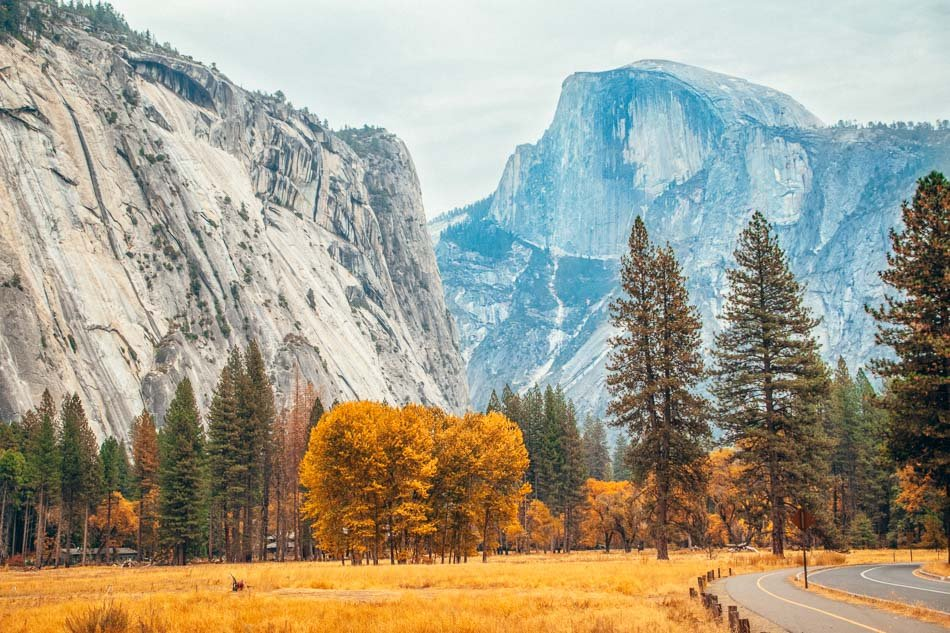 Yosemite National Park Valley in the Autumn with a view of Half Dome
