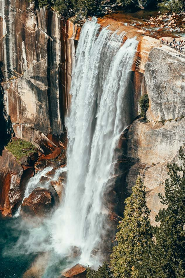 Vernal Falls seen from the Mist Trail in Yosemite National Park, California.