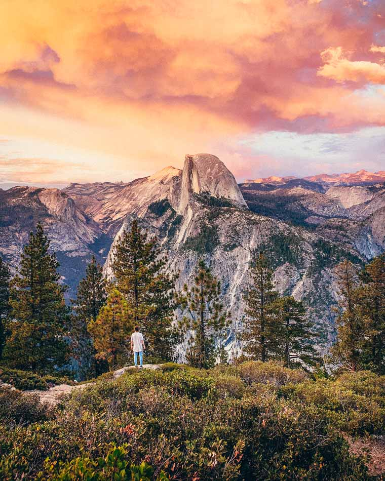 View of Half Dome from Glacier Point at sunset.