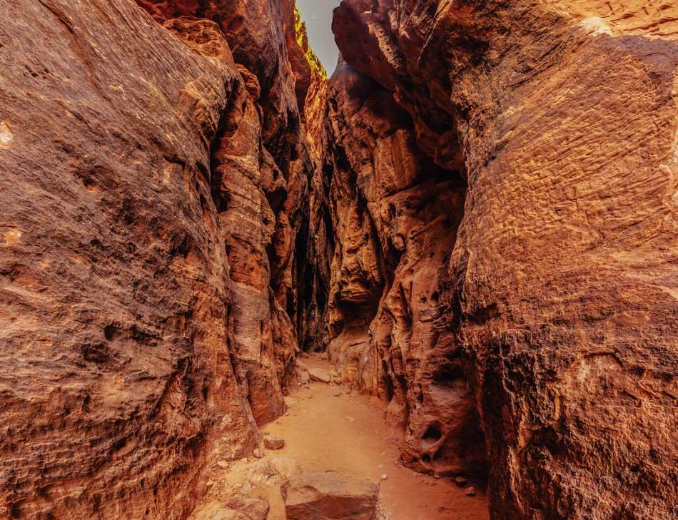 A canyon crevice at Slot Canyon in Jenny's Canyon at Snow Canyon State Park in Utah
