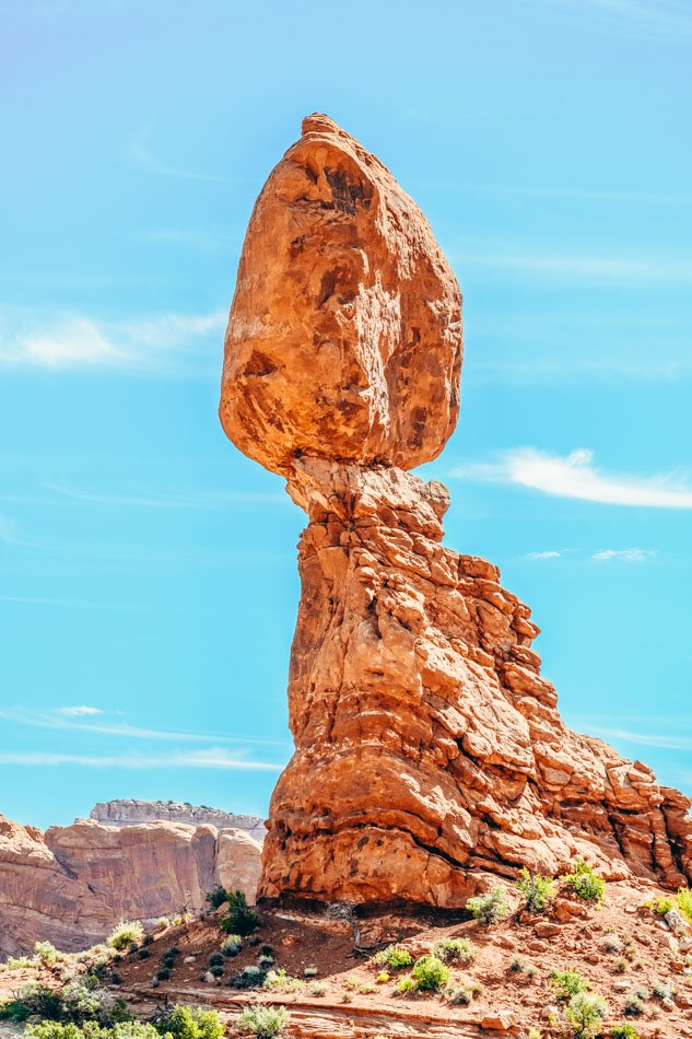 A single, distinct close up of a hoodoo at Arches National Park in Utah