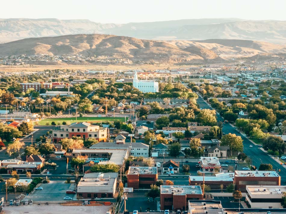 overhead of st. george utah city center with temple and mountains in the background - flickr
