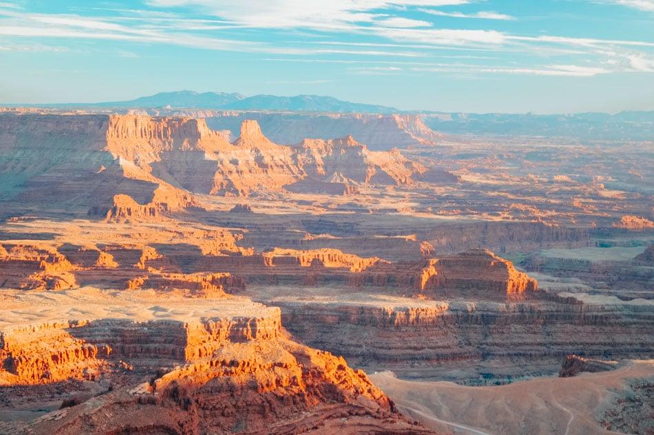 A sweeping shot of the canyons at sunset at Canyonlands National Park in Utah