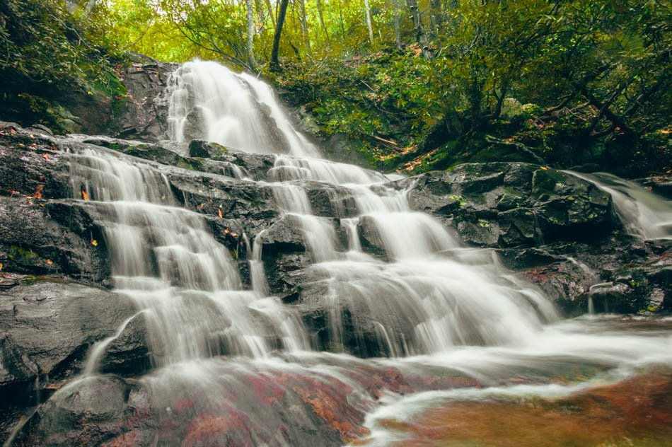 Bottom of the Laurel Falls waterfall in early fall in Great Smoky Mountains National Park