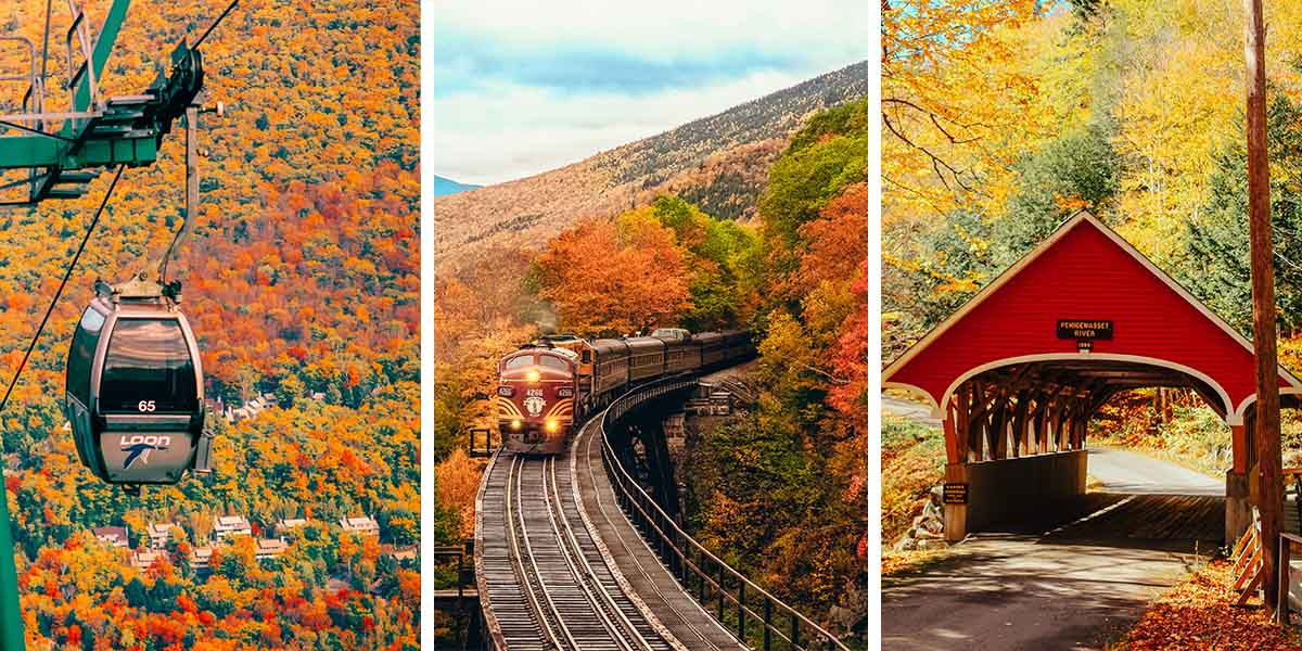 Train rides through fall foliage. Fresh apple cider. Fabulously haunted hotels. Imagine sipping on a hot cup of cider and munching on homemade apple cider donuts from the country's oldest orchard while riding a train up a mountain to view vibrant fall colors. This cozy feeling is a glimpse of what New Hampshire in the fall feels like! To help plan the best fall in New Hampshire adventure (with lots of leaf-peeping guaranteed), our writer rounded up the must-see towns and cities filled with scenic drives, state parks, apple orchards, historic bridges, and more. Throw on your coziest sweater and let's go!