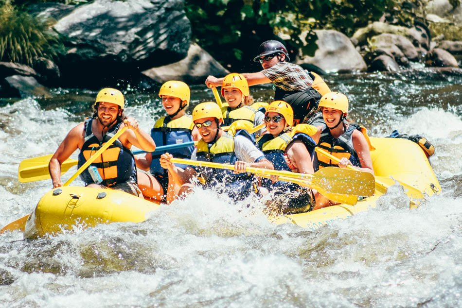 A group waterwater rafting in Great Smoky Mountains National Park