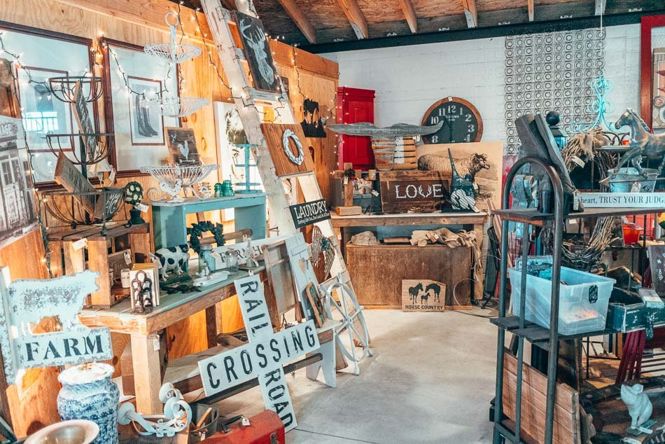 Antique store filled with crafty farm decor in Cayucos, California on the Central Coast