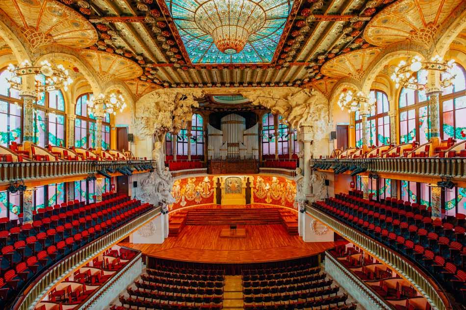 Interior view of Palau de la Música Catalana