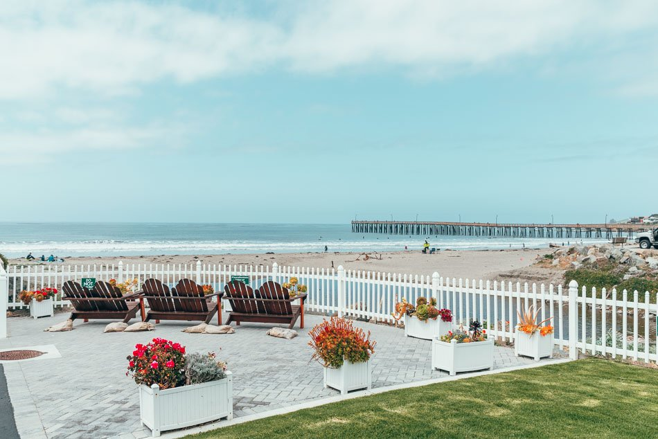 Front Patio of the Shoreline Inn on the Beach overlooking the beach in Cayucos, California on the Central Coast