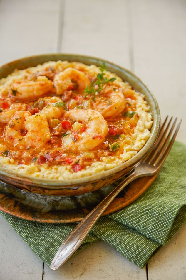 A meal of shrimp and grits at the Pottery House Cafe in Pigeon Forge, Tennessee