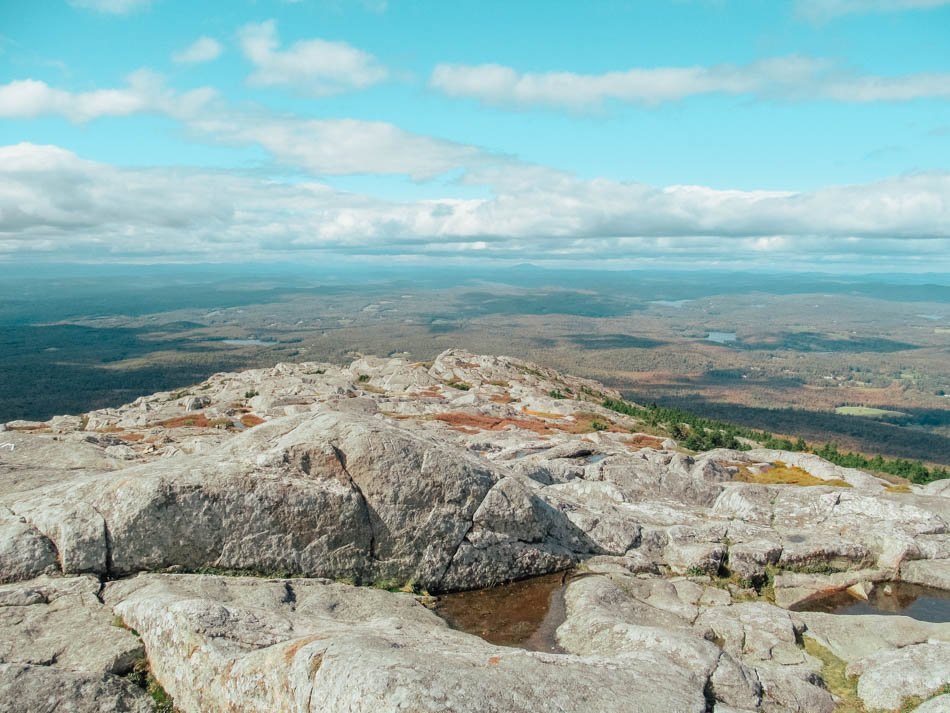 View from the summit of Mount Monadnock with a scenic view of Jaffrey, New Hampshire