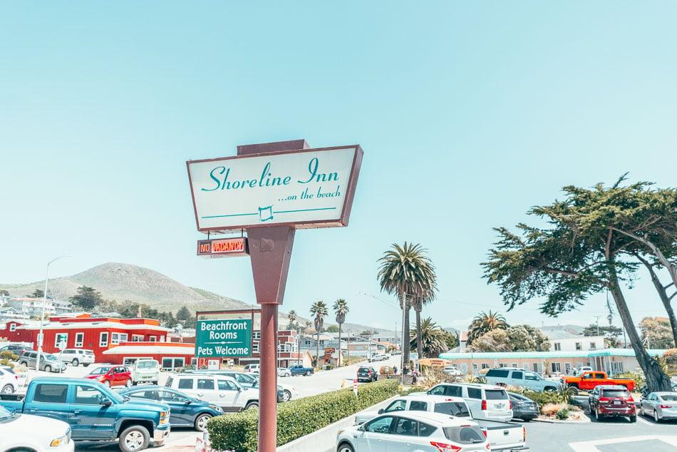 The sign of the Shoreline Inn on the Beach in Cayucos, California on the Central Coast