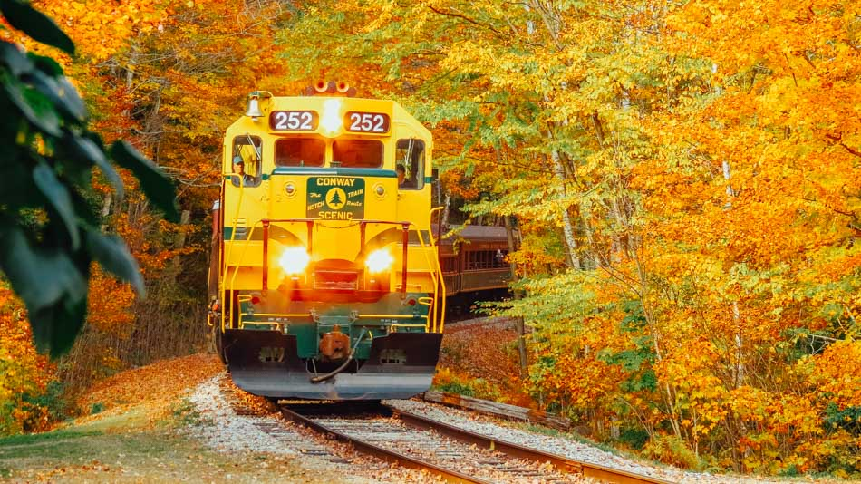 The Conway Scenic Railway going through fall foliage in New Hampshire